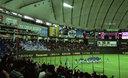 試合後 勝った韓国代表と沸くレフトスタンドの韓国応援団