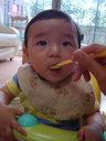 離乳食を食べるリンボウ