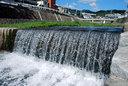 台風の名残か、川の水嵩は増していた
