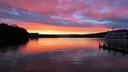 阿寒湖に沈む夕陽